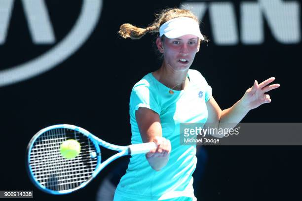 Elise Mertens of Belgium plays a forehand in her third round match against Alize Cornet of France on day five of the 2018 Australian Open at...