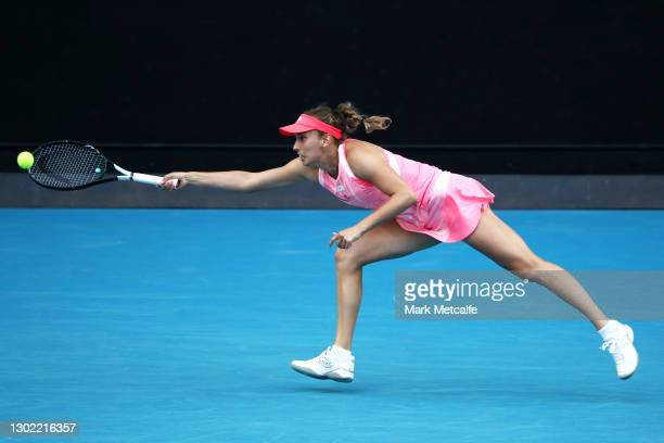 Elise Mertens of Belgium plays a forehand in her Women's Singles fourth round match against Karolina Muchova of Czech Republic during day eight of...