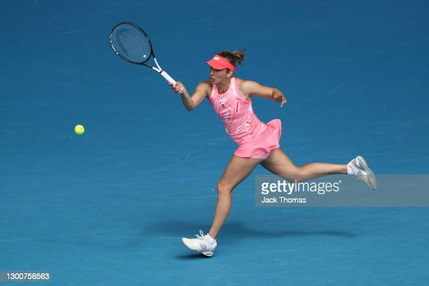Elise Mertens of Belgium plays a forehand in her Women's SinglesFinal match against Kaia Kanepi of Estonia during day eight of the WTA 500 Gippsland...