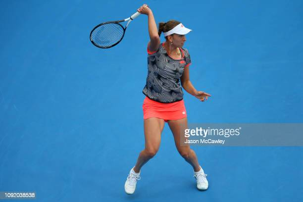 Elise Mertens of Belgium plays a shot against Ashleigh Barty of Australia during day five of the 2019 Sydney International at the Sydney Olympic...