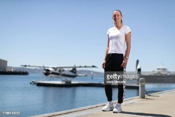 Elise Mertens of Belgium poses at Hobart's waterfront before taking a scenic flight during day three of the 2020 Hobart International at Domain...