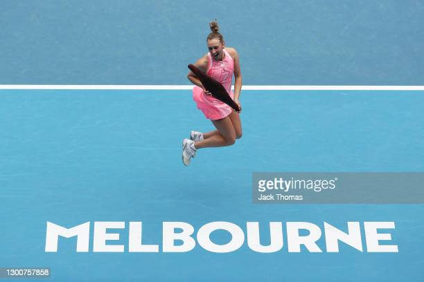 Elise Mertens of Belgium poses with the Gippsland Trophy after winning her Women's SinglesFinal match against Kaia Kanepi of Estonia during day...