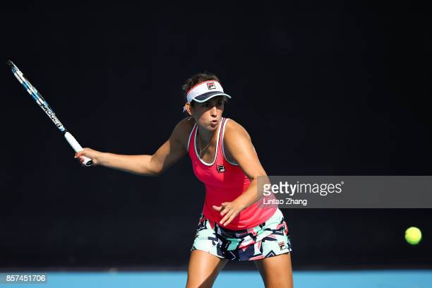 Elise Mertens of Belgium returns a shot against Caroline Garcia of France during the Women's singles second round on day five of 2017 China Open at...