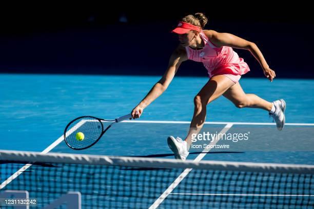 Elise Mertens of Belgium returns the ball during round 3 of the 2021 Australian Open on February 13 2020, at Melbourne Park in Melbourne, Australia.
