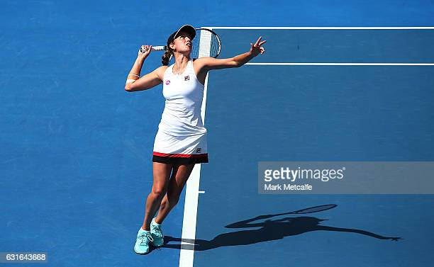 Elise Mertens of Belgium serves in her final match against Monica Niculescu of Romania during the 2017 Hobart International at Domain Tennis Centre...