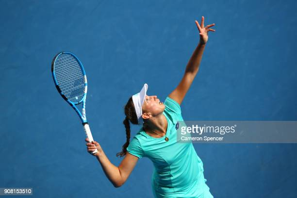 Elise Mertens of Belgium serves in her fourth round match against Petra Martic of Croatia on day seven of the 2018 Australian Open at Melbourne Park...