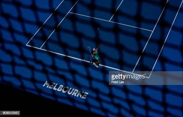 Elise Mertens of Belgium serves in her quarterfinal match against Elina Svitolina of Ukraine on day nine of the 2018 Australian Open at Melbourne...