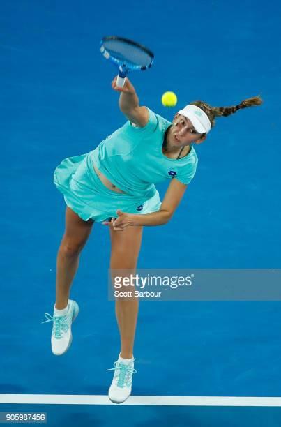 Elise Mertens of Belgium serves in her second round match against Daria Gavrilova of Australia on day three of the 2018 Australian Open at Melbourne...