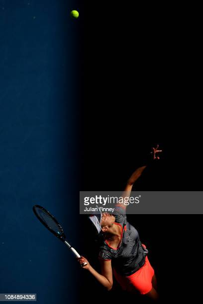 Elise Mertens of Belgium serves in her third round match against Madison Keys of the United States during day six of the 2019 Australian Open at...
