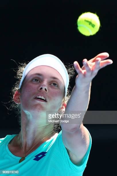 Elise Mertens of Belgium serves in her third round match against Alize Cornet of France on day five of the 2018 Australian Open at Melbourne Park on...