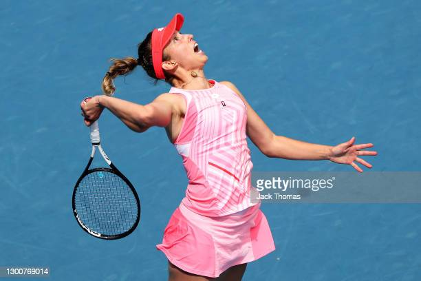 Elise Mertens of Belgium serves in her Women's SinglesFinal match against Kaia Kanepi of Estonia during day eight of the WTA 500 Gippsland Trophy at...