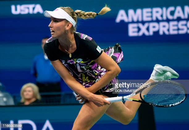 Elise Mertens of Belgium serves to Bianca Andreescu of Canada during their QuarterFinals Women's Singles match at the 2019 US Open at the USTA Billie...