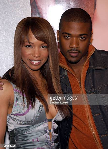 Elise Neal and Ray J during Olympus Fashion Week Fall 2005 Luxe Romance Front Row at The Altman Building in New York City New York United States