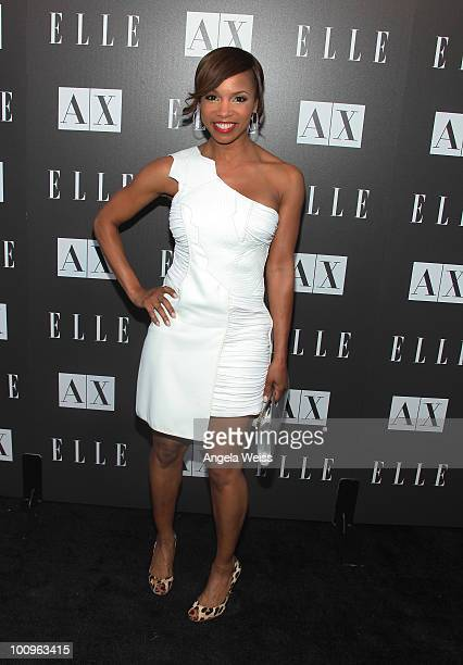 Elise Neal arrives to the A|X Armani Exchange and ELLE's Joe Zee 'Disco Glam' soiree evening at A|X Robertson Store on May 25 2010 in Los Angeles...