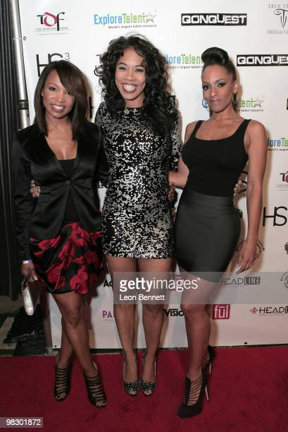 Elise Neal, Dollphace and Melyssa Ford arrive at Boulevard3 on April 6, 2010 in Hollywood, California.