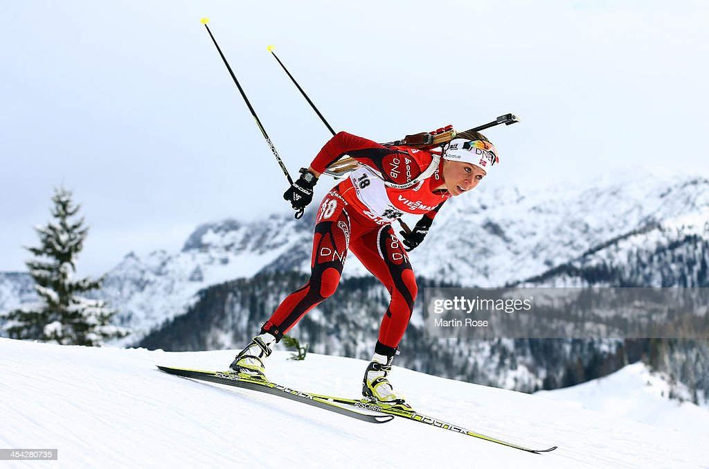 Elise Ringen of Norway competes in the women's 10km pursuit event during the IBU Biathlon World Cup on December 8, 2013 in Hochfilzen, Austria.