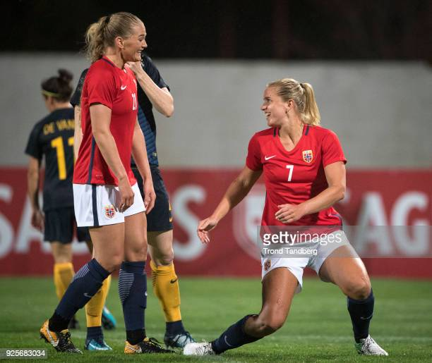 Elise Thorsnes Lisa Marie Utland of Norway celebrates goal during Algarve Cup between Australia v Norway on February 28 2018 in Albufeira Portugal