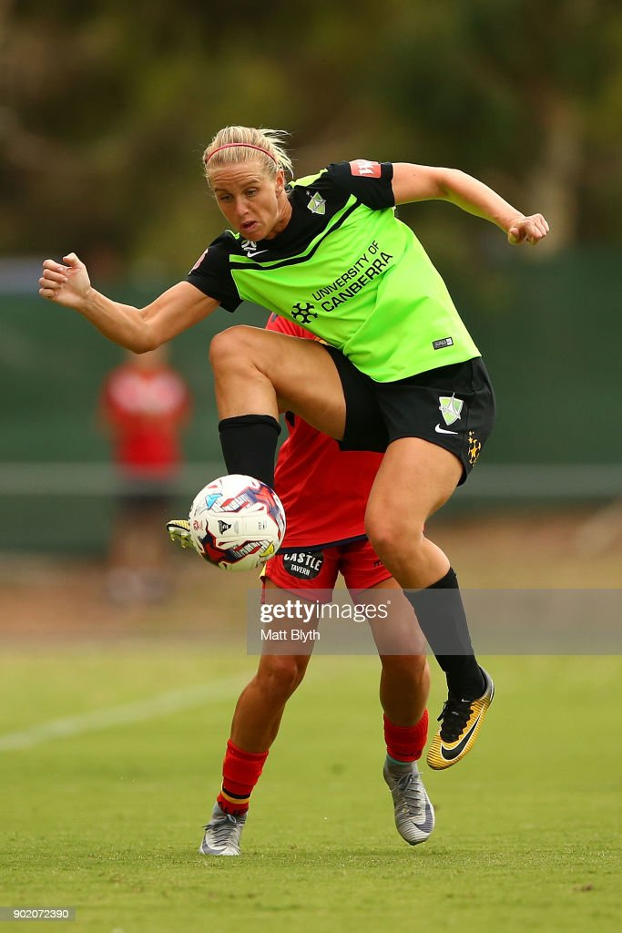 Elise Thorsnes of Canberra United FC controls the ball during the round 10 W-League match between Canberra United and Adelaide United at McKellar Park on January 7, 2018 in Canberra, Australia.