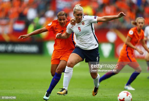 Elise Thorsnes of Norway and Shanice van de Sanden of the Netherlands tackle during the Group A match between Netherlands and Norway during the UEFA...