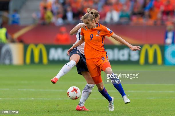 Elise Thorsnes of Norway battle for the ball during their Group A match between Netherlands and Norway during the UEFA Women's Euro 2017 at Stadion...