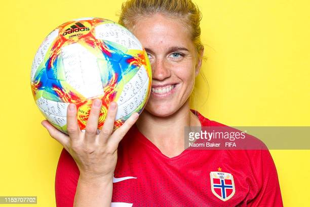 Elise Thorsnes of Norway poses for a portrait during the official FIFA Women's World Cup 2019 portrait session at Hotel Novotel Reims Tinqueux on...