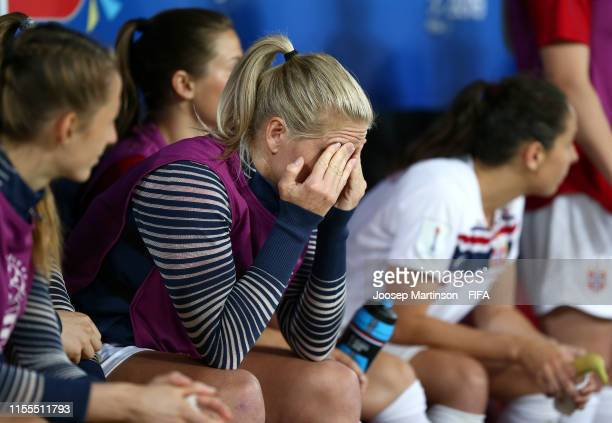 Elise Thorsnes of Norway reacts to defeat after the 2019 FIFA Women's World Cup France group A match between France and Norway at Stade de Nice on...