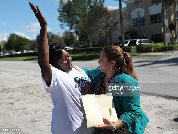 Elisena AgroMar celebrates with Reina Gomez an undocumented domestic worker from Honduras after she was given a year long reprieve from deportation...