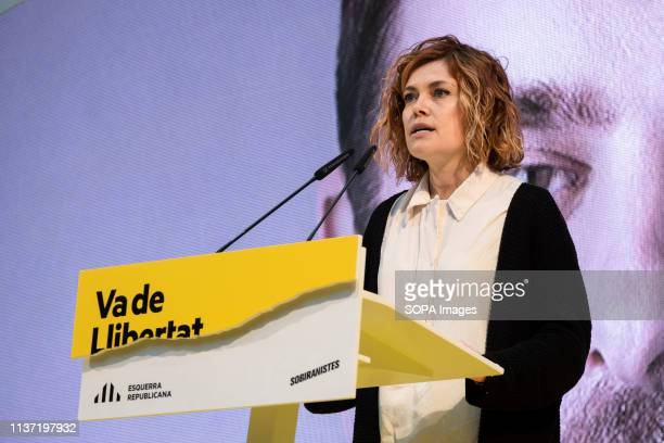 Elisenda Alamany, candidate number two to the City Council of Barcelona is seen speaking during the event. Political party Esquerra Republicana...