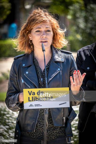 Elisenda Alemany, number two at the Barcelona City Council seen speaking during the electoral campaign. The political formation Esquerra Republicana...