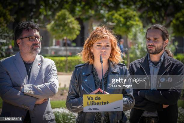 Elisenda Alemany number two to the Barcelona City Council accompanied by Joan Josep Nuet and Joan Ignasi Elena seen speaking during the electoral...