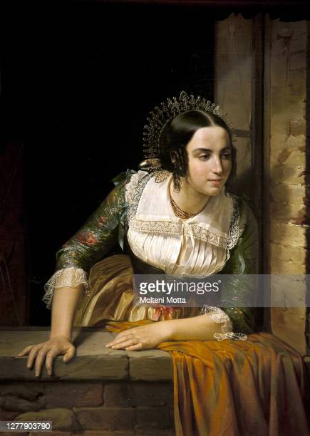Eliseo Sala. 1813-1879. Lucia Mondella looking through the window if her fiance returns on the wedding day. 1843. Oil painting on canvas. Cm 100 x 76.