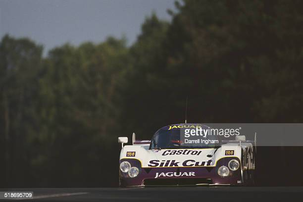 Eliseo Salazar of Chile drives the Silk Cut Jaguar TWR Jaguar XJR12 during practice for the FIA World Sportscar Championship 24 Hours of Le Mans race...