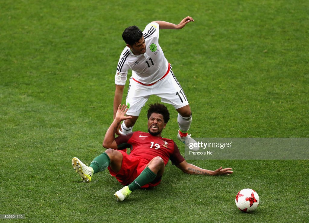 Eliseu of Portugal and Carlos Vela of Mexico battle for possession during the FIFA Confederations Cup Russia 2017 Play-Off for Third Place between Portugal and Mexico at Spartak Stadium on July 2, 2017 in Moscow, Russia.