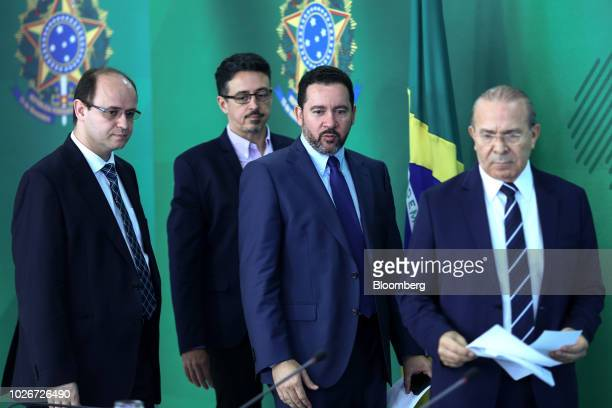 Eliseu Padilha Brazil's chief of staff from right Dyogo Oliveira president of Banco Nacional de Desenvolvimento Economico e Social Sergio Sa Leitao...