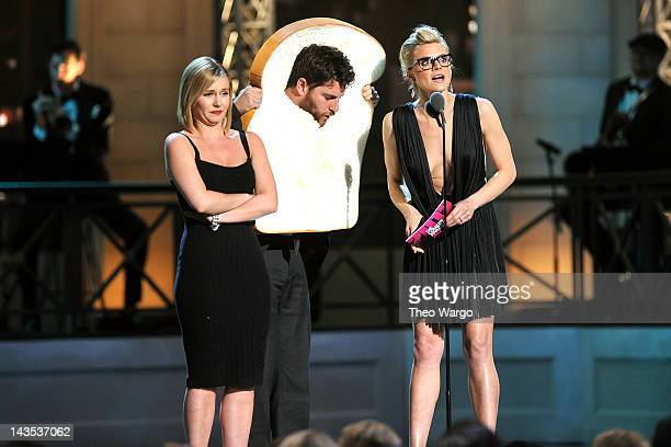 Elisha Cuthbert, Adam Pally and Eliza Coupe speak onstage at The Comedy Awards 2012 at Hammerstein Ballroom on April 28, 2012 in New York City.
