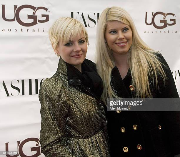 MONTREAL QC NOVEMBER 28 Elisha Cuthbert and her sister Lee Ann Cuthbert arrive at the opening of the UGG Australia Boutique November 28 2007 in...