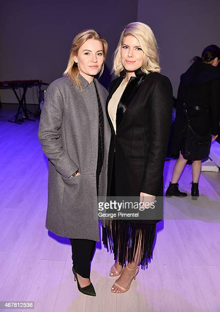 Elisha Cuthbert and LeeAnn Cuthbert attend World MasterCard Fashion Week Fall 2015 Collections Day 4 at David Pecaut Square on March 26 2015 in...