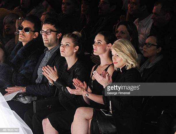 Elisha Cuthbert Tessa Virtue and LeeAnn Cuthbert attend World MasterCard Fashion Week Fall 2015 Collections Day 4 at David Pecaut Square on March 26...