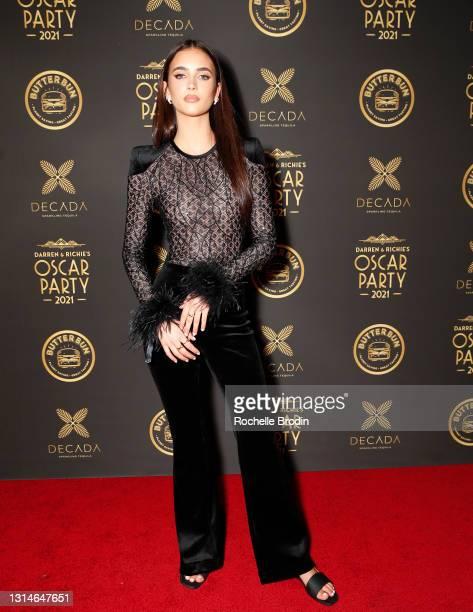 Elisha Herbert attends Darren Dzienciol & Richie Akiva's Oscar Party 2021 on April 25, 2021 in Bel Air, California.