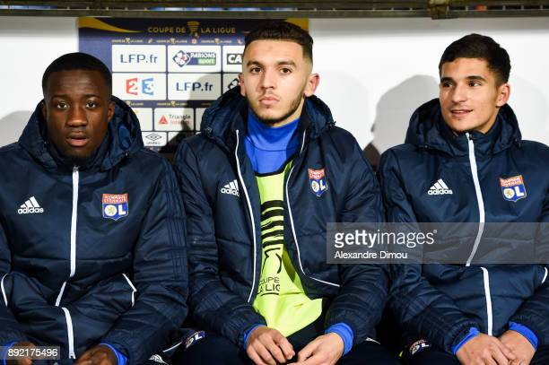 Elisha Owusu and Amine Gouiri and Houssem Aouar of Lyon during the french League Cup match Round of 16 between Montpellier and Lyon on December 13...