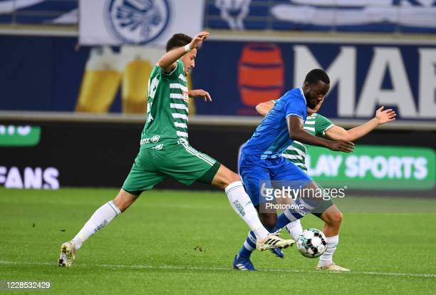 Elisha Owusu midfielder of KAA Gent during the UEFA Champions League third qualifying round match between KAA Gent and SK Rapid Wien on September 15,...