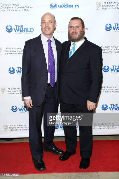 Elisha Wiesel and Rabbi Shmuley Boteach attend the 2018 World Values Network Champions of Jewish Values Awards Gala at The Plaza Hotel on March 8,...