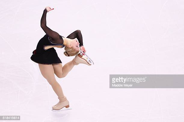 Eliska Brezinova of Czech Republic skates in the Ladies Short Program during Day 4 of the ISU World Figure Skating Championships 2016 at TD Garden on...