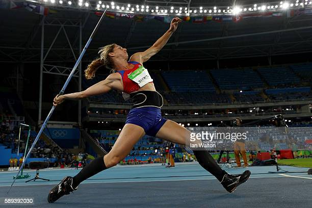 Eliska Klucinova of the Czech Republic competes in the Women's Heptathlon Javelin Throw on Day 8 of the Rio 2016 Olympic Games at the Olympic Stadium...