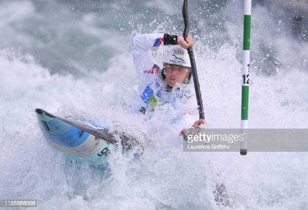 Eliska Mintalova of Slovakia competes in the Womens K1 Heats during Day One of the 2019 ICF Canoe Slalom World Cup at Lee Valley White Water Centre...