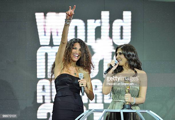 Elissa collects her award onstage during the World Music Awards 2010 at the Sporting Club on May 18 2010 in Monte Carlo Monaco