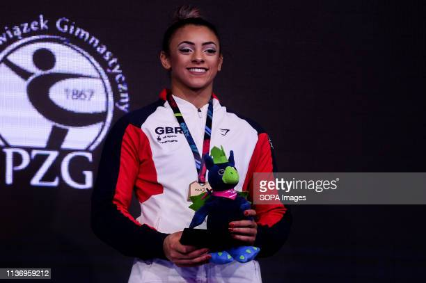Elissa Downie from Great Britain seen with bronze medal after winning the vault final during Apparatus Finals of 8th European Championships in...