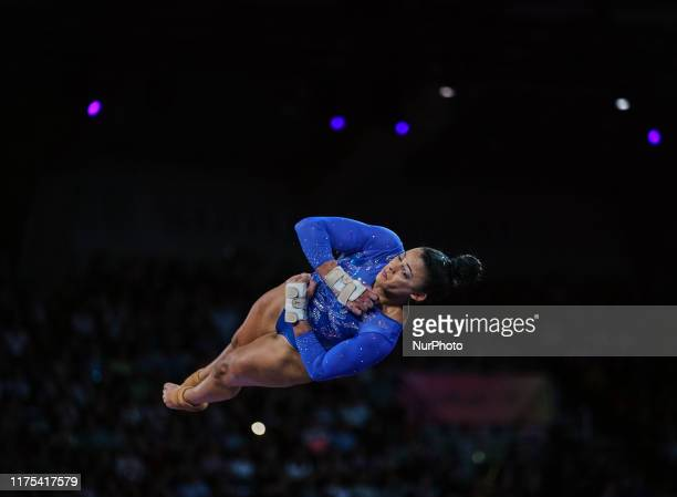 Elissa Downie of Great Britain during vault for women at the 49th FIG Artistic Gymnastics World Championships in Hanns Martin Schleyer Halle in...