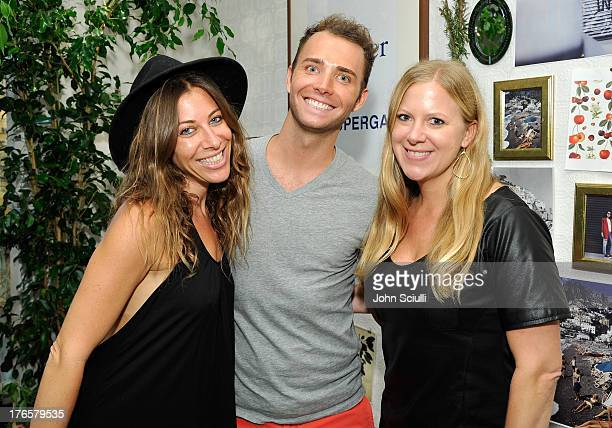 Elissa Kravetz Chad Evans and Amanda Keller attend the Man Repeller X Superga Launch Party at Fred Segal Santa Monica on August 15 2013 in Santa...