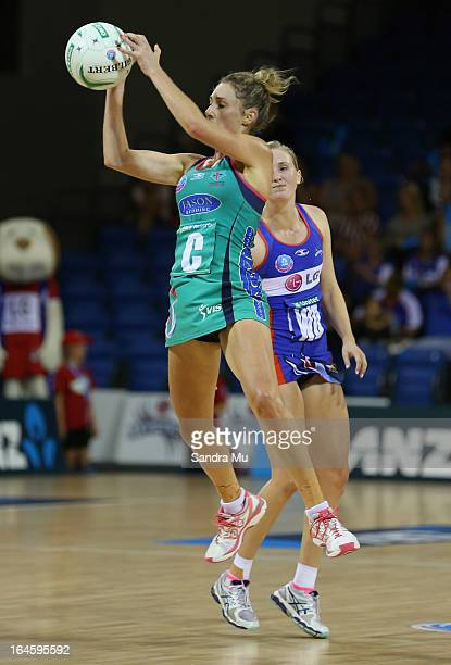 Elissa MacLeod of the Vixens intercepts during the ANZ Championship match between the Mystics and the Melbourne Vixens at Trusts Stadium on March 25...
